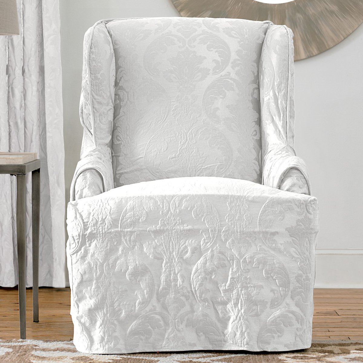 wing chair slipcover matelasse damask wing white