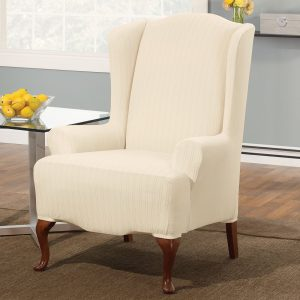 wingback chair slipcover stretch pinstripe wing chair cream